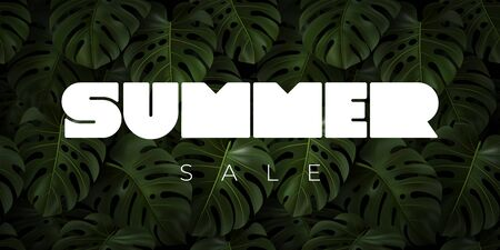 SUMMER SALE vector typography with realistic tropical leaves monstera.