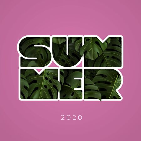 Vector illustration with inscription SUMMER 2020 and green tropical leaves monstera.