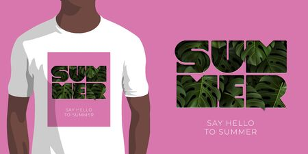 Inscription SAY HELLO TO SUMMER with green tropical leaves monstera on pink