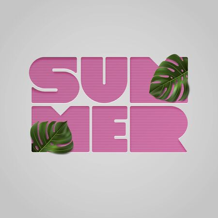 Paper cut pink letters SUMMER with tropical leaves on light gray