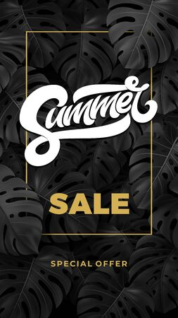 SUMMER SALE typography in frame on tropical dark texture with leaves.