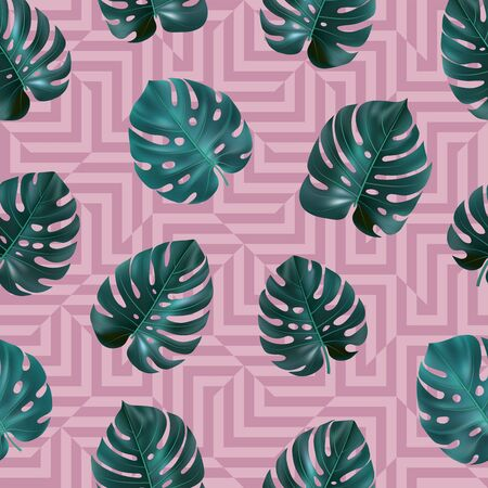 Tropical seamless pattern with green leaves monstera on pink geometric