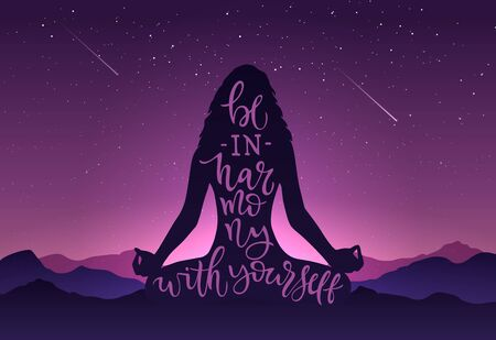 Illustration silhouette of girl in meditation with calligraphy BE HARMONY WITH YOURSELF