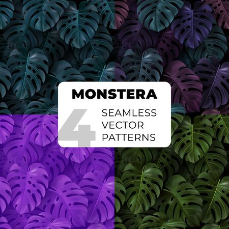 Set seamless vector pattern with green, dark color tropical leaves Monstera. Vectores