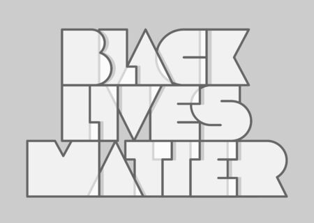 Black lives matter modern typography on a flat gray background. Vector template with lettering for banner, design concept, sign, poster. Minimalistic vector illustration. Stop racism banner.