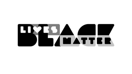 Monochrome banner with minimalistic typography BLACK LIVES MATTER Illustration for protest, rally or awareness campaign against racial discrimination of dark skin color. Vector template with lettering