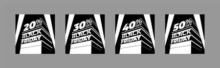 Set of monochrome illustrations for BLACK FRIDAY sale with volumetric letters. Discounts twenty, thirty, forty, fifty percent. Vector template for flyer, poster, ad, shop, business, cards.