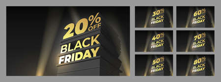 Set Illustration for sale BLACK FRIDAY with volumetric letters, building and spotlight. Discounts twenty, thirty, forty, fifty, sixty, seventy, eighty percent. Vector template for shop, flyer, cards. Ilustração