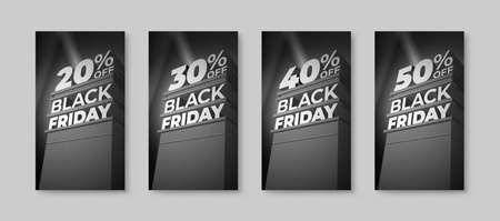 Set of vertical monochrome illustrations for sale and discount BLACK FRIDAY with volumetric letters. Twenty, thirty, forty, fifty percent off. Vector template for ad, flyer, shop, business, cards. Ilustração