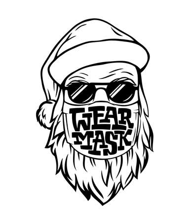 Vector template with hand drawn Santa in medical mask. Lettering WEAR MASK isolated on white background. Monochrome illustration for logo, print, postcard, banner, sign on door in pandemic. EPS10
