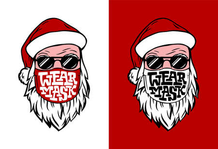 Postcard with hand drawn Santa in medical mask. Lettering WEAR MASK in white and red. Vettoriali
