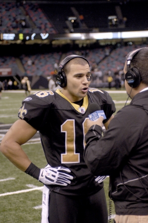 Lance Moore of the New Orleans Saints in post game interview with CBS Sports at the Louisiana Superdome Nov 24, 2008
