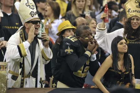 New Orleans Saints fans cheering in the stands at the Louisiana Superdome Jan, 2011