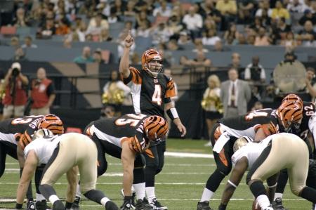 Quarterback J T O Sullivan of the Cincinatti Bengals calls aplay a the line of scrimmage vs New Orleans Saints Aug, 2009