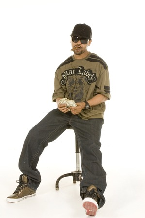 New Orleans hip hop artist Juvenile in studio editorial promo shoot Mar, 2009 isolated on a white background
