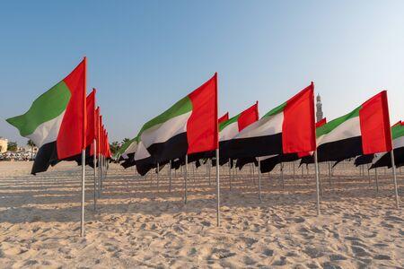 UAE National day celebration with flags around city in Dubai Stock Photo