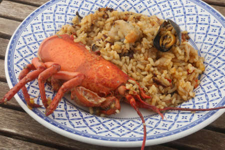 lobster seafood rice typical from spain