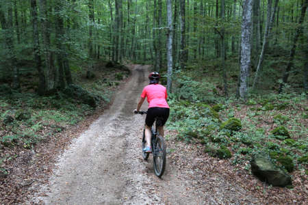 woman biking in the middle of tre forest trees Archivio Fotografico