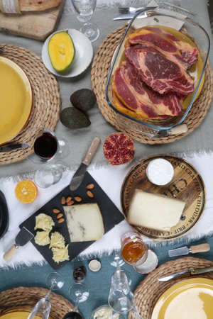 dinner with entrecote meat cheese board and red wine
