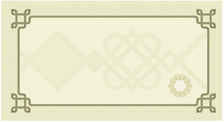 Coupon certificate template with complex guilloche elements  Vector