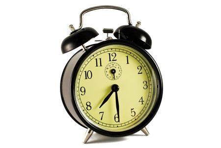 retro alarm clock on the white background Stock Photo - 6353796