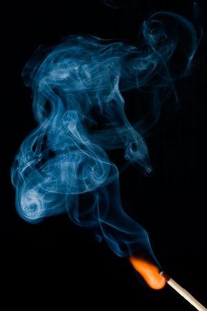 burning match on the black background photo