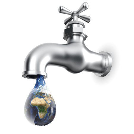 waterdrop: Earth globe in waterdrop dripping from tap