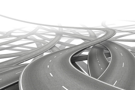 multiple: multiple empty roads symbolizing choice