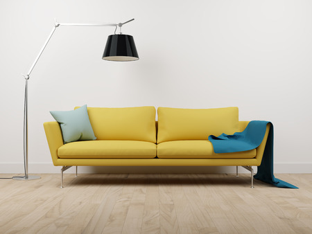 modern living room: couch and lamp on the parquet floor