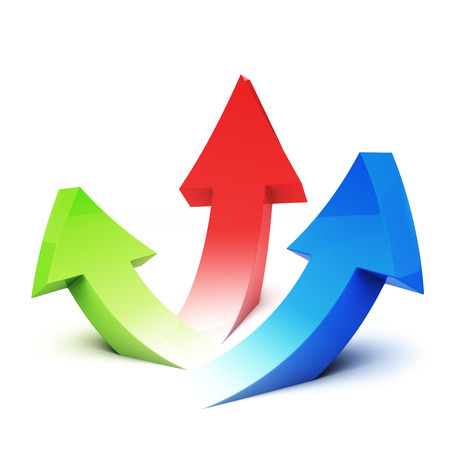 upside: green, red and blue arrows pointing upside Stock Photo