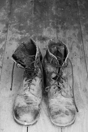 combat boots: old and dirty combat boots thai army black and wite