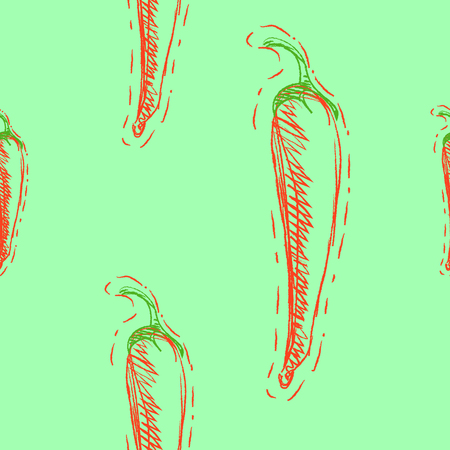 Seamless pattern with red hot chili peppers on green background. Vector illustration of vegetables eps 8