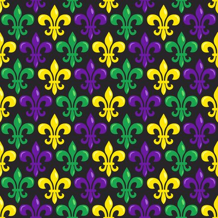 Mardi Gras vector seamless pattern. Fleur-de-lis on black background. Perfect for wrapping paper, fabric or greetings cards.