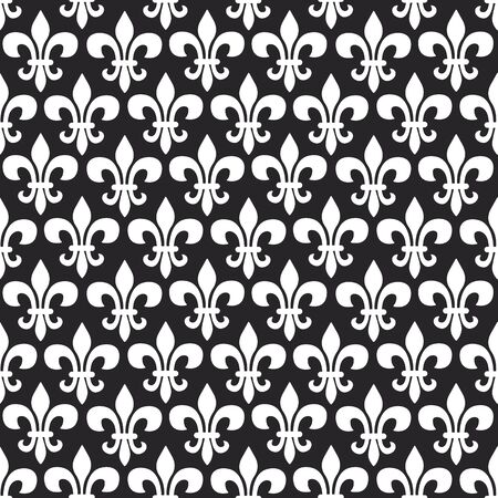 Mardi Gras vector seamless pattern with fleur-de-lis. Black and white colors. Perfect for wrapping paper, fabric or greetings cards.