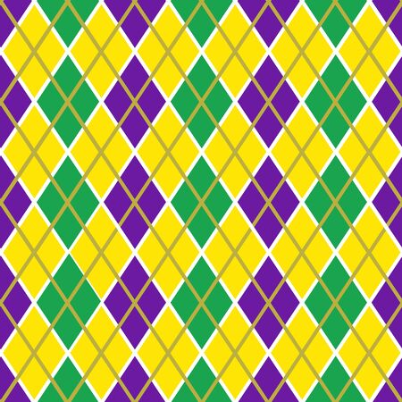 Mardi Gras vector seamless pattern. Green, purple and yellow rhombus. Perfect for wrapping paper or fabric. Vector Illustration