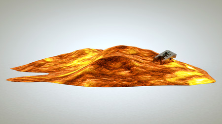 cooled: slowly cooled lava lies on white background Stock Photo
