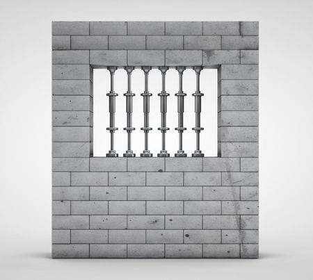 3d render of prison(jail) on light background photo