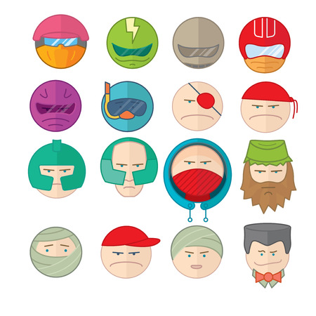 bard: Flat vector illustration icons set with many cartoon persons with different equipment, mood, stuff