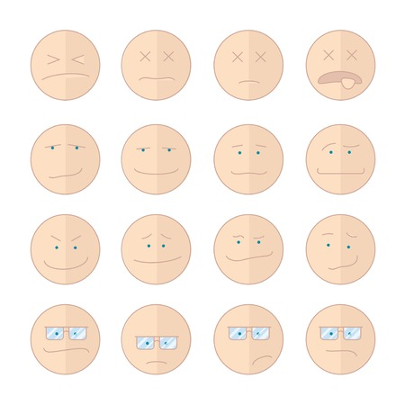 contempt: Ilustración del vector clipart emoticon con diferentes caras de la historieta en el estilo plano ilustración vectorial