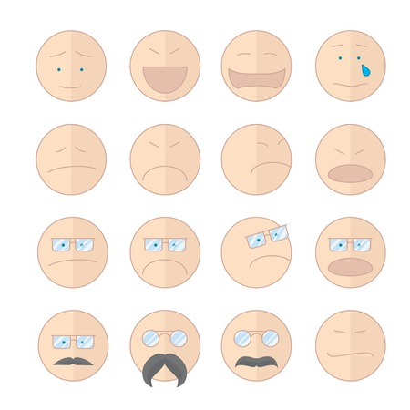 contentment: Set of smiley icons: different negative sadness emotions large set of vector on white background Illustration
