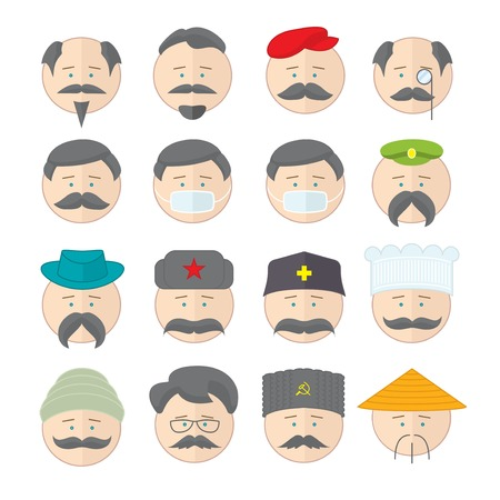cowboy beard: Flat vector illustration icons set with many cartoon persons with different equipment, mood, stuff