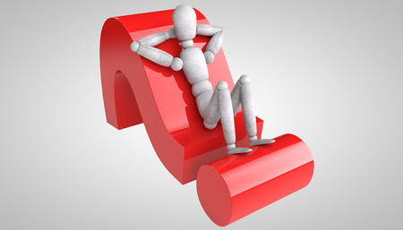 3d puppet: 3d puppet model lying on a red question mark hands behind his head thrown back and reflect on the complex task