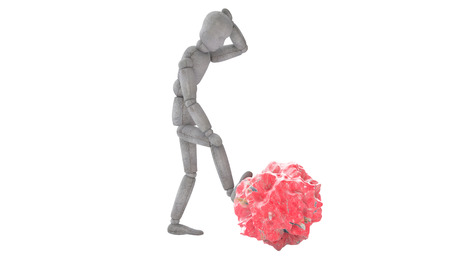 3d puppet model in thoughtful pose, putting his foot on the red stone, like a meteorite. body slightly tilted forward, his left hand behind his head