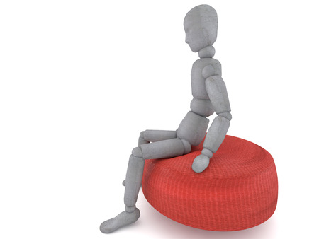 different thinking: 3d puppet model figure with a detached view of a slightly tilted head is sitting on a red sofa chair from different angles. great image to illustrate the problems in life or thinking