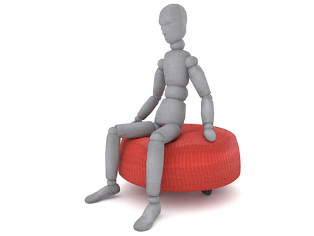 3d puppet: 3d puppet model figure with a detached view of a slightly tilted head is sitting on a red sofa chair from different angles. great image to illustrate the problems in life or thinking