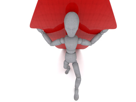 3d puppet: 3d puppet model figure of a man holding a red arrow growing on his shoulders, showing his view of how perseverance and the will to help achieve success. Doll is a divorced and a little bent legs, holding hands wear Stock Photo