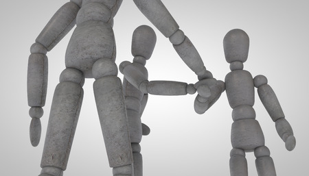 3d puppet: 3d puppet model with stone texture stand and shake hands on a white and gray background