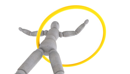 3d puppet: 3d  puppet model standing feet shoulder width apart, arms spread wide and turns yellow hoop with different camera angles and different focal lengths Stock Photo