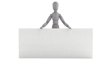 3d puppet: 3d puppet model It is standing right behind a white widescreen horizontal billboards, holding it with both hands, consisting of joints Stock Photo