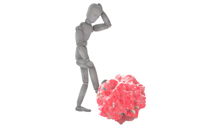 3d puppet model in thoughtful pose, putting his foot on the red stone, like a meteorite. body slightly tilted forward, his left hand behind his head from different angles, the dynamics of composition